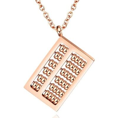 Stainless Steel Rose Gold Abacus Calculator Pendant & Necklace
