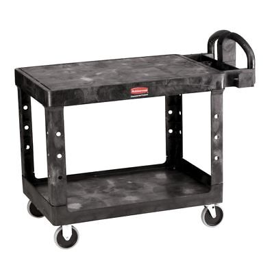 Rubbermaid Black Plastic 2-shelf Lipped Top Heavy-duty Utility Cart - 44l X 25