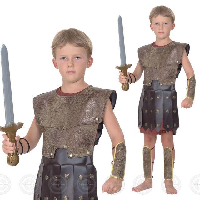 BOYS ROMAN WARRIOR FANCY DRESS COSTUME GREEK SOLDIER GLADIATOR KIDS CHILDS 8 11