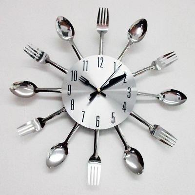 Modern Design Silver Cutlery Kitchen Utensil Clock Spoon Fork Knife Bendable New ()
