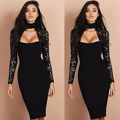 Women Lace Bridesmaids Pencil Dress Bandage Bodycon Long Sleeve Evening Cocktail Bridesmaid Womens Long Sleeve