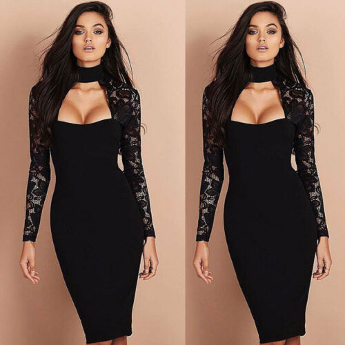Dress - Women Sexy Bridesmaids Pencil Dress Bandage Bodycon Long Sleeve Evening Cocktail