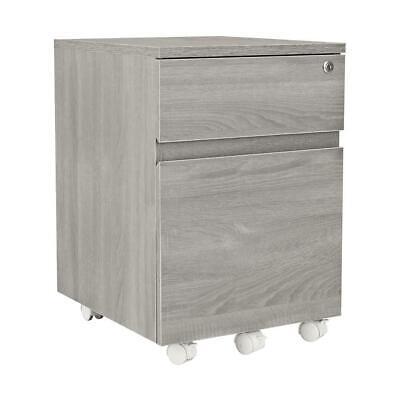 Grey Rolling 2 Drawer Vertical Filing Cabinet Home Office Storage File Locking