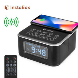 InstaBox W33 Alarm Clock Radio FM Bluetooth Speaker USB & Wireless Charging Pad