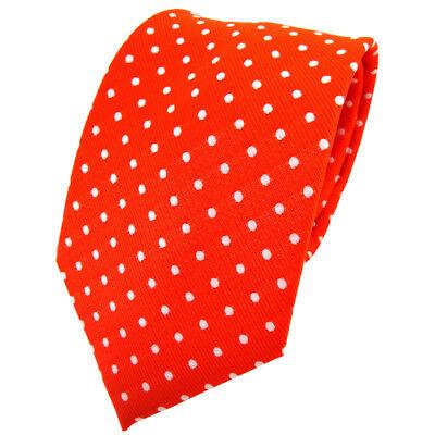 TigerTie Krawatte orange leuchtorange neonorange silber gepunktet - Binder Tie