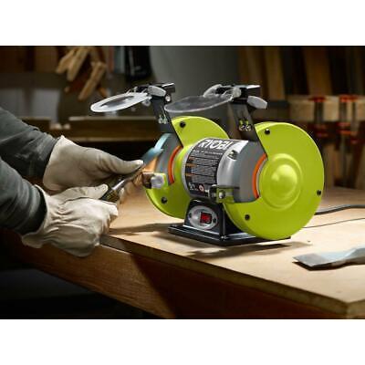Ryobi Bench Grinder 6 Inch BG612G LED Work Light Spark Shiel