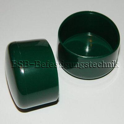 10 Verschlußkappen 34 mm Rohrkappen - grün -  Pfostenkappe Abdeckkappen lu
