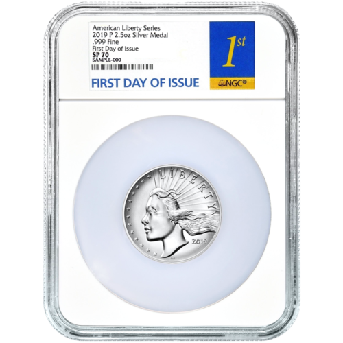2019-P SILVER AMERICAN LIBERTY HIGH RELIEF 2.5OZ MEDAL NGC SP70 FDI FIRST LABEL
