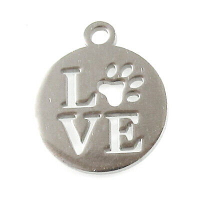 Love With a Cut Out Paw Charm, Stainless Steel Coin Pet Dog Charms (5 Pieces)