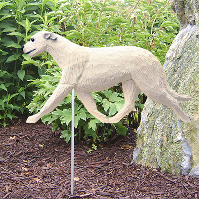 Irish Wolfhound Outdoor Garden Sign Hand Painted Figure White