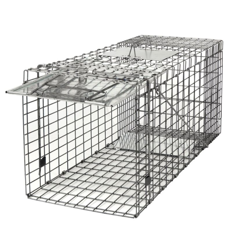 """Durable Large Animal Trap Spring Loaded 32x12x13"""" Easy to Bait & Release Fram"""