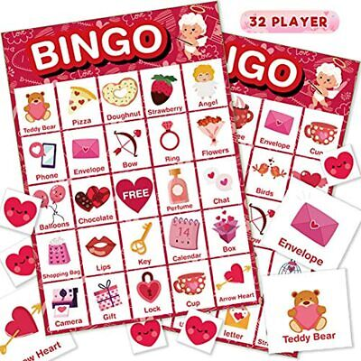 Valentine&39s Day Bingo Game Cards Kids/Adult, 32 Players Family/School Party
