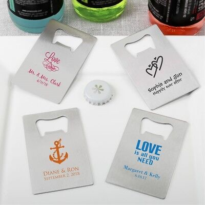 50 Personalized Silver Credit Card Bottle Openers Wedding Shower Party Favors  - Personalized Credit Card Bottle Opener
