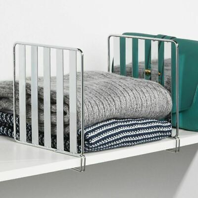 mDesign Versatile Metal Wire Closet Shelf Divider and Separa
