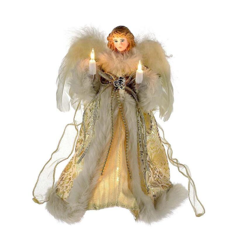 """Kurt Adler 10"""" Ivory and Gold Lighted Angel Christmas Tree Topper Feather Wings"""
