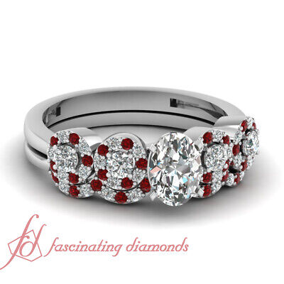 Diamond Wedding Rings Set For Women With GIA Certified Oval