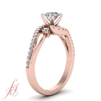 1 Carat Round Cut Diamond Three Stone Bypass Engagement Ring In 14K Rose Gold 2