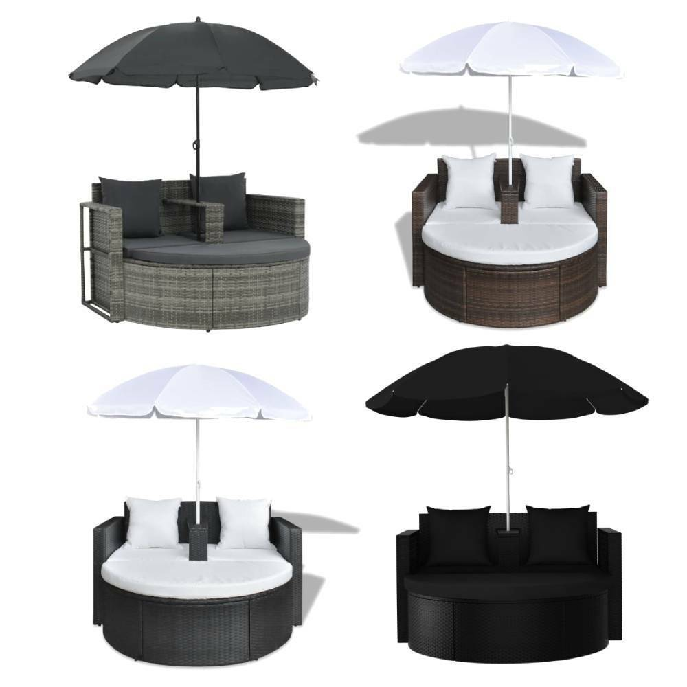 2 Seater Garden Sofa Day Bed with Parasol Outdoor Patio Rattan Furniture Set NEW
