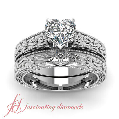 Vintage Style Solitaire Wedding Rings Set 0.50 Ct Heart Shaped VS2 Diamond GIA 1