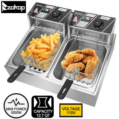 5000w 12.7qt12l Electric Countertop Deep Fryer Dual Tank Commercial Restaurant