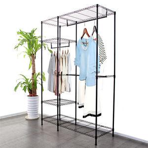 New Wardrobe Clothes Rack Garment Hanging Rack Rail Wire Metal Carbon Steel UK