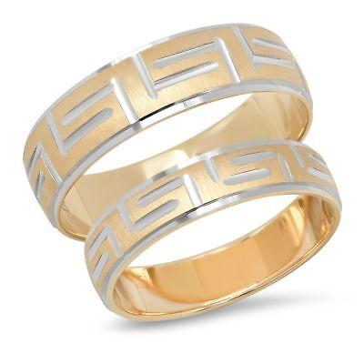His&hers 14K Dos Tonos Oro Hombre y Mujer a Conjunto Clave Griega...
