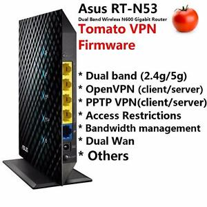 Asus RT-N53 Dual Band Gigabit Wireless Router with Tomato VPN firmware pre-loaded, OpenVPN and PPTP VPN compatible