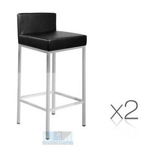 Set of 2 PU Leather Kitchen Bar Stool Black Melbourne CBD Melbourne City Preview