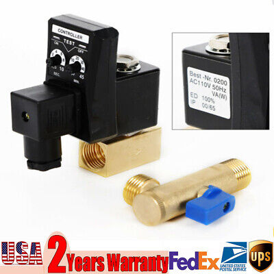 Electronic Timed 2 Way Air Compressor Gas Tank Automatic Drain Valve 110v 12