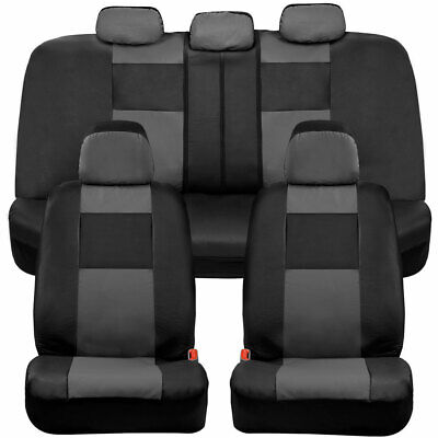 BDK Full Set PU Leather Car Seat Covers - Front & Rear Two-Tone in Black & Gray