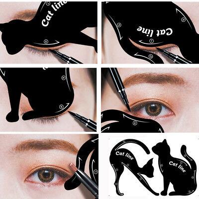Damen Katze Pro Augen Make-up Werkzeug Eyeliner Schablonen Former Modell 2 Stück