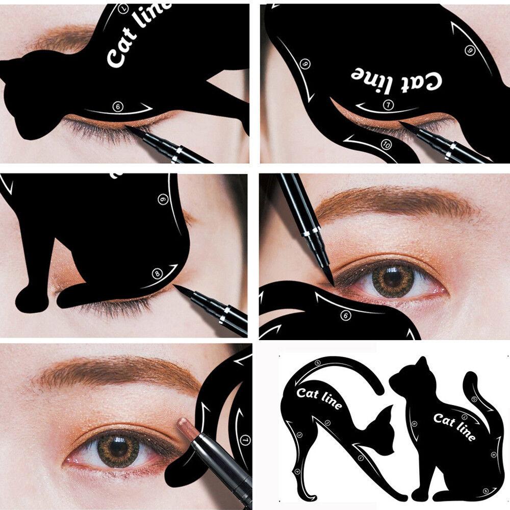 2X Women Cat Line Pro Eye Makeup Tool Eyeliner Stencils Template Shaper Model TG