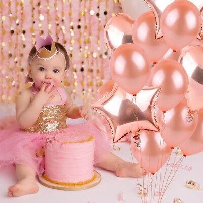 10Pcs Rose Gold Series Foil Latex Balloon Set Wedding Happy Bithday Party - Bithday Party
