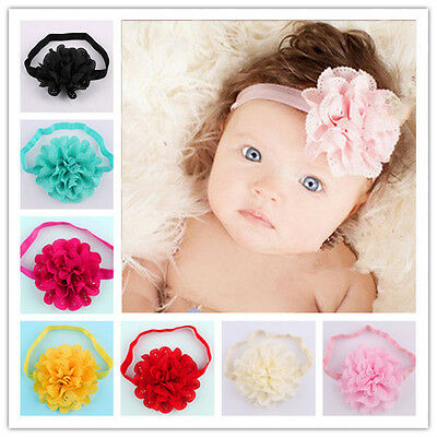 - Cute Baby Infant Girl Toddler 12pcs Flower Headband Hair Bow Band Accessories US