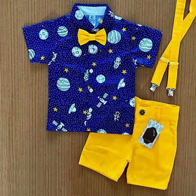 Toddler Kids Baby Boy Gentleman Clothes Shirt Tops Shorts Pants Formal Outfit US