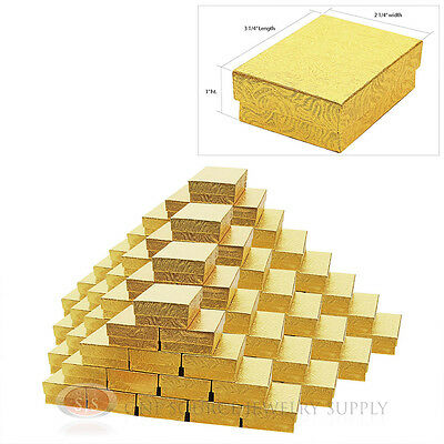 100 Gold Swirl Cotton Filled Gift Boxes 3 14 X 2 14