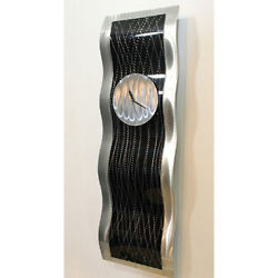 Black Silver Hanging Wall Clock - Modern Metal Wall Art Sculpture by Jon Allen