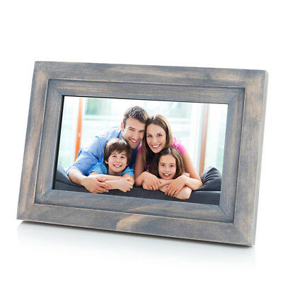 """iDeaPLAY DF702 7"""" 8GB WiFi Digital Photo Frame Wooden Album with iOS Android App"""