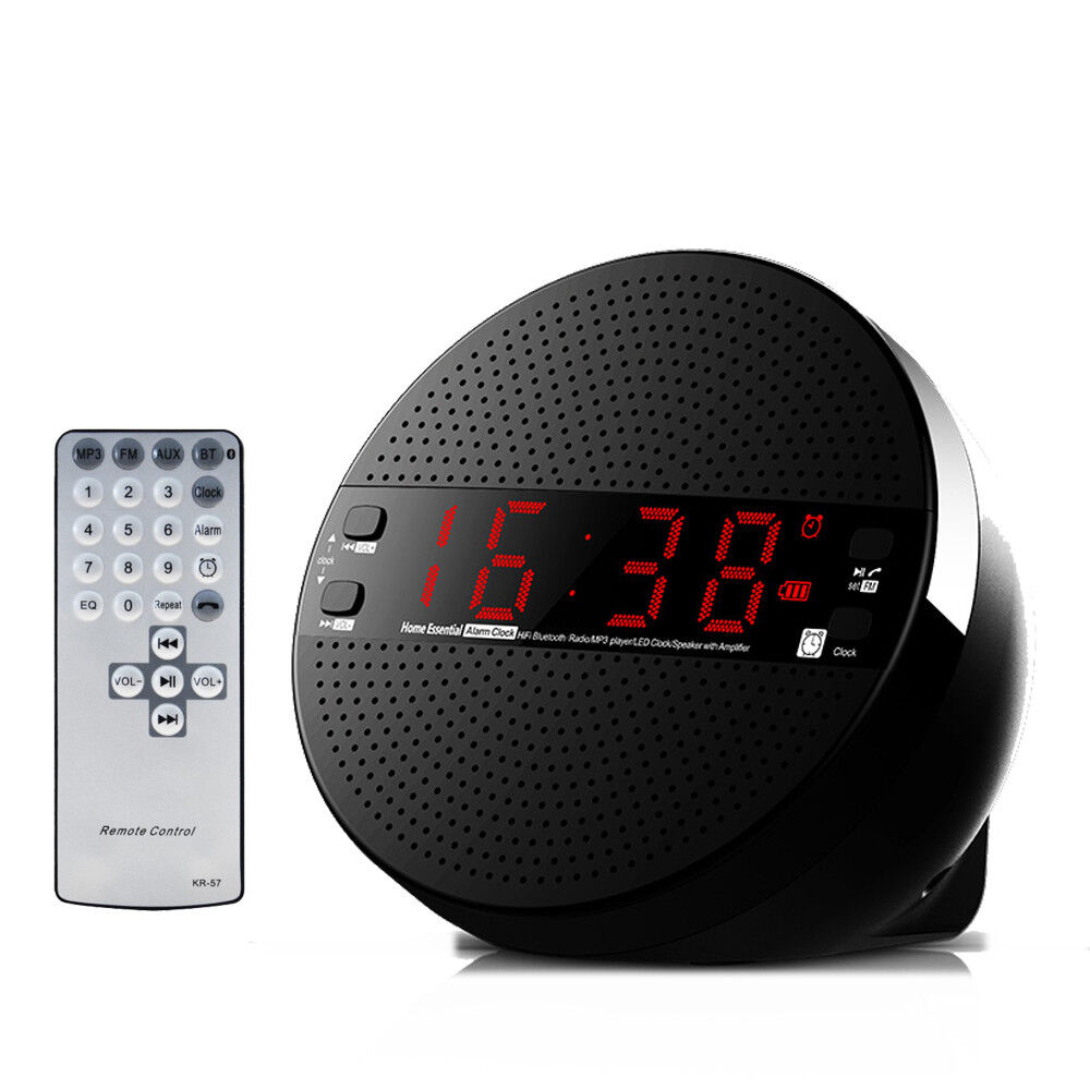 Alarm Clock FM Radio Wireless Bluetooth Subwoofer Speaker with Remote Controller