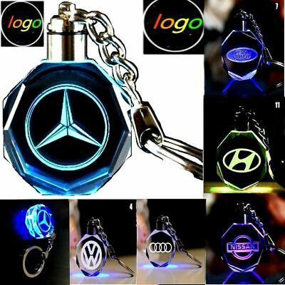 Car Logo Keychain Crystal Light Changing Car keyring Color LED Light Gift Box Led Lighted Logo Keychain