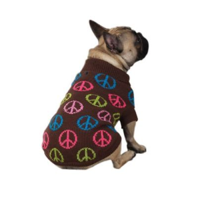 Peace Dog Sweater - East Side Collection Peace Sign Dog Sweater Size XS
