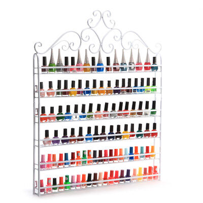 6 Tier Nail Polish Display Wall Rack Metal Organizer Fit Up To 120 Bottles White for sale  USA
