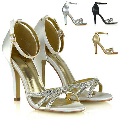 Schuhe Stiletto Heel Ankle Strap (Womens Stiletto Heel Shoes Sparkly Ladies Bridal Evening Ankle Strap Sandals 3-8)
