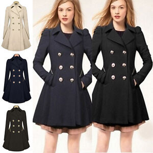 Womens Double Breasted Trench Coat Jacket Slim Long Lapel Winter Peacoat Dress