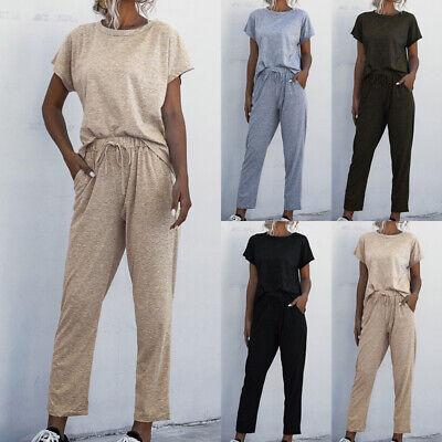 UK 2PCS Women Summer Tracksuits Set Lounge Wear Ladies Tops Suit Pants Plus Size