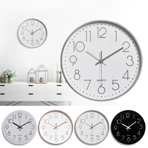 """12"""" Round Non Ticking Silent Quartz Wall Clock Battery Operated Home Decorative"""