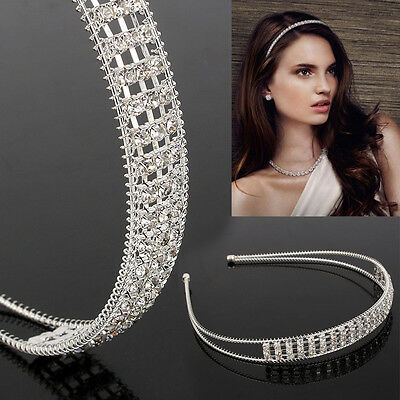 Women Lady Silver Rhinestone Crystal Headband Hair Band Hoop Accessory Decor Hot