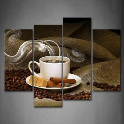 Print Drink - Framed Cup Of Coffee Bean Canvas Print Wall Art Painting Food Drink Picture