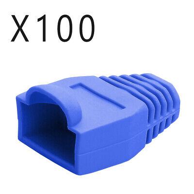 Qty of 100 pcs - CAT5e/6 RJ45 Ethernet Patch Cable Strain Relief Boots - Blue