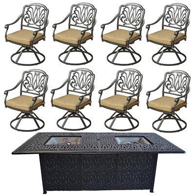 Fire pit dining table Cast Aluminum Propane Double Burner 9 Piece Outdoor Set ()